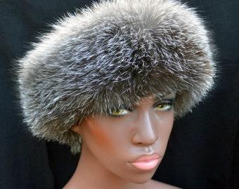 Russian Women's Roller Hat BLACK Leather Top Grey FOX Fur Women RH2 Arctic Store®
