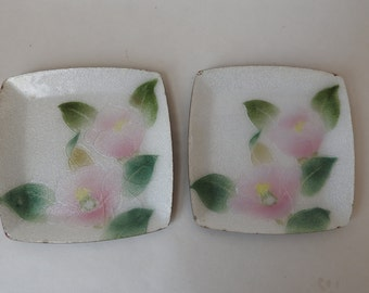 Pair of Cloisonné Kujaku Floral Enamel dishes