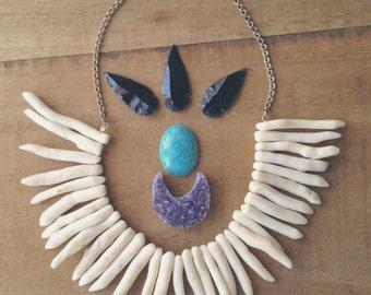 White Tribal Bib Spike Necklace