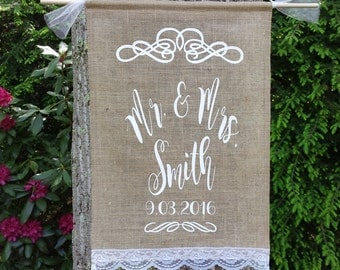 Personalized Burlap Banner, Save The Date Banner, Bride and Groom Banner, Burlap Wedding, Family Name Banner, Rustic Wedding,Burlap and Lace