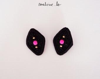 Black rhombus earrings, black lozenge earrings, black earrings with pink accent