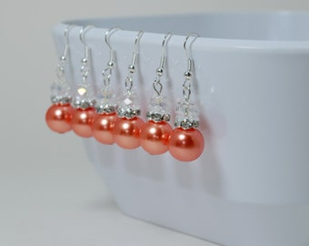 Pearl Dangle Earrings, Coral Drop Earrings, Coral Pearl Earrings, Pearl & Crystal Earrings, Coral Bridesmaid Earrings, Inexpensive Earrings