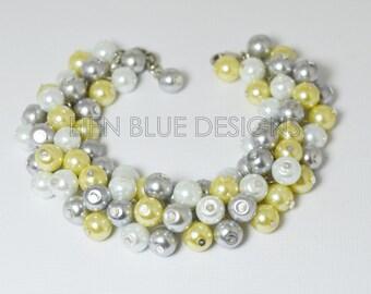 Gray, yellow and white pearl bracelet, pearl cluster bracelet, light gray bridesmaid bracelet, chunky pearl bracelet, chunky bracelet