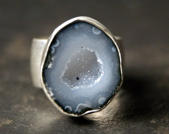 Light Blue Grey Druzy Geode Ring in Sterling Silver