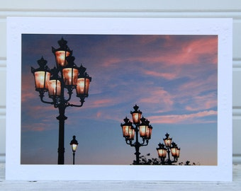Paris Photo Greeting Card, Street Lights, Sunset over Paris, Urban photography, Travel photo print, Fine Art Photography, Any Occasion Card