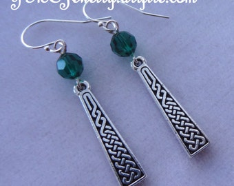 Sterling Silver Long Celtic Green Earrings,Celtic Dangle Earrings, Irish Earrings, St. Patrick's Day,Dainty Celtic Earrings, Celtic Earrings