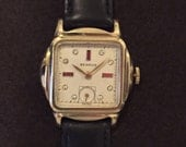 Men's WATCH Vintage 17 Jeweled BENRUS Wrist Watch 10k Rolled Gold Stainless Back Rhinestone Ruby Dial