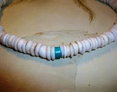Vintage Turquoise and Puka Shell Choker Necklace Unisex  Free shipping in the USA