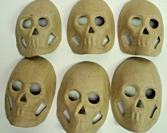 """Lot of 6 Paper Mache Skull mask 8""""- Halloween decor - Ready to Paint"""