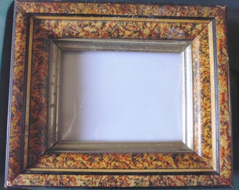 Antique picture frame with glass, 1920s frame, old frame, glass front frame, early 20th century, photo frame, wooden picture frame