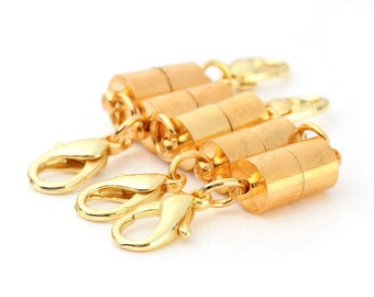 4 Magnetic Clasps - Gold Plated - Magnetic Cylinders - 38x9mm - 4 Sets - Ships IMMEDIATELY from California - FC176a