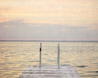 Gray and Pink Photography, Lake House Decor, Sunset Wall Art, Cottage Wall Decor, Lake Photograph, 8x10 Picture, Dock Art Print