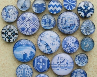Delft Blue Transferware China Antique Blue Willow Blue White Home Decor Blue and White Large Glass Magnet Set Office Organization