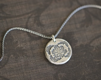 Botanical Charm Necklace, Sterling Silver, Pendant, PMC Jewelry, Charm Necklace, Wheat Chain, 20 inch