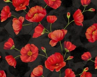 Wilmington Prints - Poppy Celebration - Trailing Poppies Red/Black