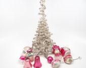 Vintage 1940's German Tinsel Christmas Tree with Star Base