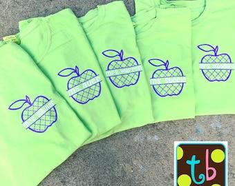 Comfort Colors Personalized Quatrefoil Monogrammed Apple Back to School Teacher Shirt Tee