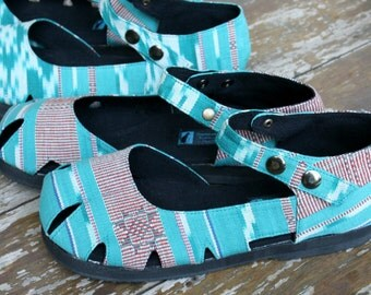 Mary Jane Style Womens Shoe In Turquoise Ikat Vegan Espadrille Summer Shoes - Dahlia