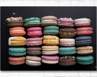 Paris Photograph on Canvas - Multicolored Macarons on  Paris Food Photo, Gallery Wrapped Canvas, French Home Decor, Large Wall Art