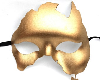 Handmade Australia Shaped Masquerade Mask in Gold or Silver