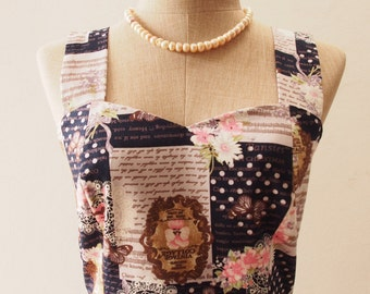 Romantic Summer Dress, Floral Polka Dot Navy Vintage Style Dress, Kitsch Dress, Shoulder Straps, Navy Sundress, Garden Dress, XS-XL,Custom