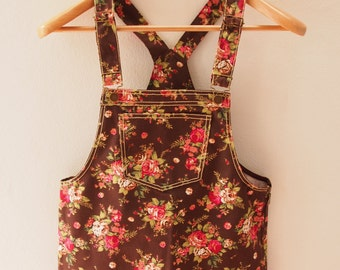 Skirtall, Floral Skirtall, Brown with Rose Overall, Apron Overall skirtall, Vintage Inspired, XS-XL