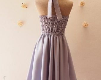 Gray Bridesmaid Dress Gray Party Dress Vintage Halter Dress Vintage Halter Dress Rockabilly Gray Summer Sundress Tea Dress-XS-XL, Custom