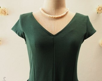 CLASSY CLASSIC - Pine Green Tea Length Dress Modest Dress Sleeve Dress Working Dress Vintage Inspired Party Dress - Size S,M,L,XL