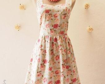 FLORAL DRESS vintage inspired dress Blue Sundress floral dress romantic Coral rose summer dress tea dress strap dress floral Sundress,custom