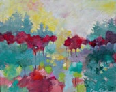"""Abstract Landscape Painting, Colorful Acrylic Painting, Original Artwork, """"Morning Stillness"""" 18x24"""