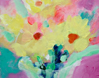 Small Abstract Floral Painting, Colorful, Cheerful, Daffodil, Yellow, Pink 6x6""