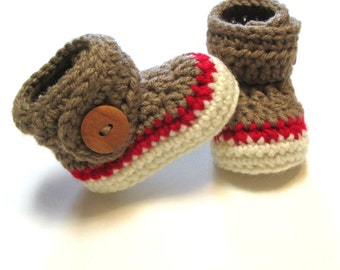 Crochet baby sock monkey booties.  Unisex baby booties for baby shower gift or photography prop.  Made to order.  Gender neutral baby boots