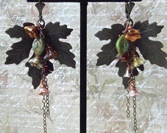Maple Leaf, Rusty Black Brass, Czech Glass Bell Flowers and Leaves Fall Earring