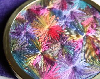 Rainbow Starburst Embroidered Handbag Mirror, Handmade by Pingwynny