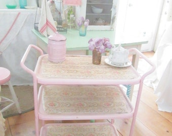 Vintage cart chippy pink vintage wallpaper shabby chic prairie cottage