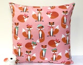 Pink fox cushion cover fox pillow woodland cushion woodland pillow kids cushion kids pillow girls cushions childrens cushion hipster decor