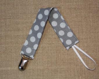 Grey and White polka dot Pacifier Clip