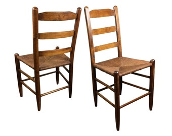 Two Antique 19th Century Oak Ladderback Rush Seat Caned Chairs