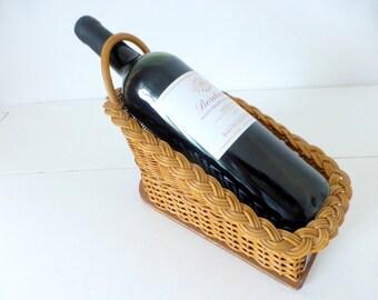 Vintage French, Wicker, Wine Basket, Calvet