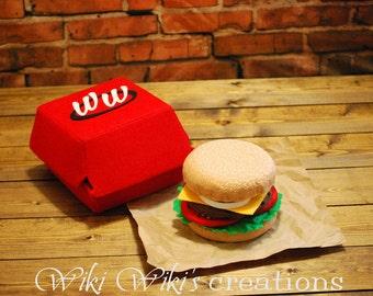 Felt Food Hamburger with Box