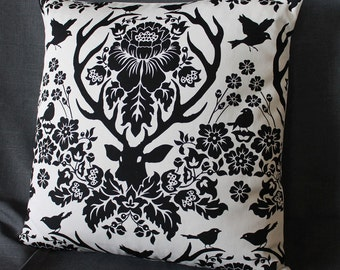 "One Pair of Black and White Stag Deer Pillows, ""It's beautiful,"" Inspired by Hannibal"