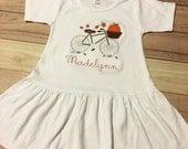 girls pumpkin dress, pumpkin dress girls, girls pumpkin patch dress, girls fall dress, girls pumpkin applique dress