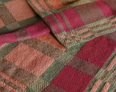 Handwoven Tea or Kitchen Towel Retro Blocks- Salmon and Wine- Olive