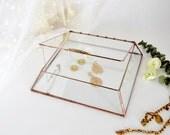 "Glass Box Glass Display Box Glass Jewelry Box Wedding Card Box Clear Glass Jewelry Box Truncated Pyramid Box 10"" x 10"" x 2"""