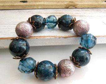Retro Vintage Chunky Blue Silver Bead Antiqued Gold Flower Cap Stretch Bracelet