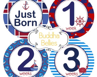 BUNDLE PACK Nautical Baby Boy Monthly Stickers - Month Baby Stickers - Nautical Baby Shower Gift - Nautical Nursery - Baby Boy Photo Decals