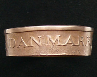 Bronze Coin Ring 1970 Denmark 5 Ore, Ring Size 8 1/2 and Double Sided