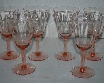 Pink wine glasses vintage pink  stemware set of 6  paneled design