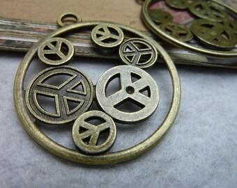 10pcs 42mm antique bronze peace gear charms pendant C6825