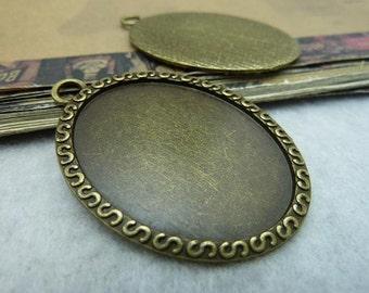 10pcs 40x30mm antique bronze cabochon pendant settings C6367